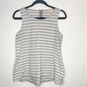 Michael Kors striped grey tank zip back sz large